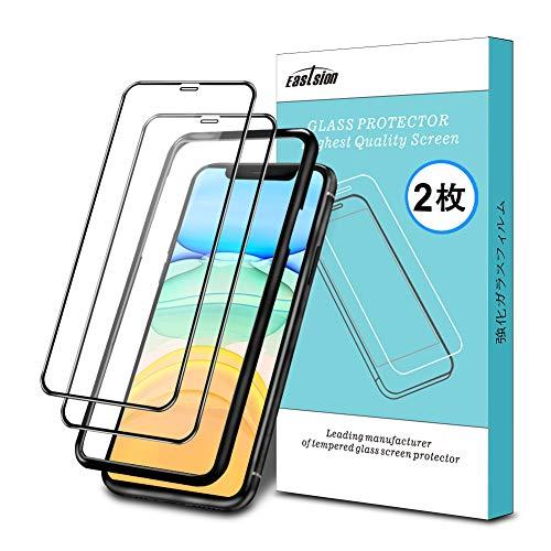 iPhone 11 ガラスフィルム/iPhone XR ガラスフィルム 6.1インチ 用 全面保護フィルム 液晶強化ガラス【ガイド枠付き】【2枚入り】Eastsion 日本旭硝子 高硬度9H 高透過率(アイフォン11/XR用)