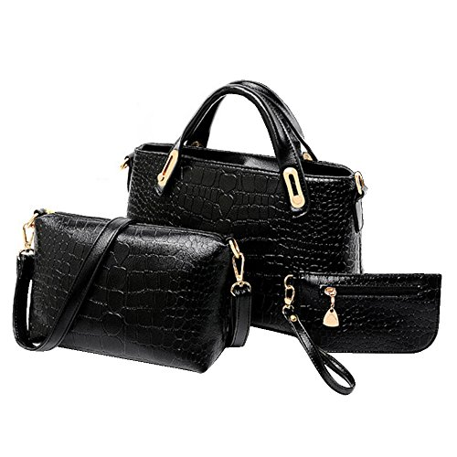 BYD - Donna Female Borse a mano Set 3 in 1 Set Colore puro High Quality PU Leather Crocodile Mutil Function with 1 Purse and 1 Wallet Elegant Fashion School Bag Work Office Bag