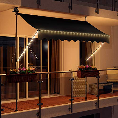 Swing & Harmonie LED - Markise mit Kurbel Klemmmarkise Balkonmarkise mit Beleuchtung und Solarmodul Fallarm Markise Sonnenschutz Terrasse Balkon (300x150, anthrazit)