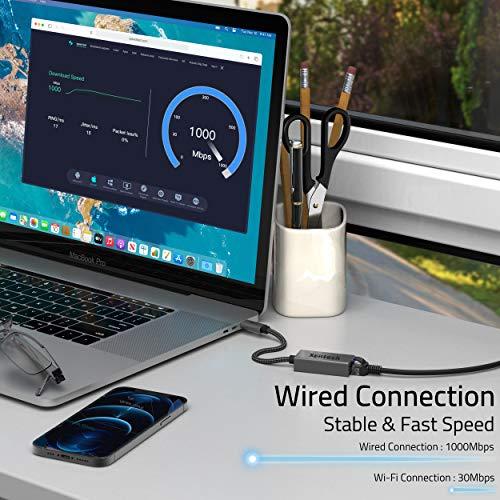 Syntech USB C auf Ethernet Adapter, Thunderbolt 3 to RJ45 Gigabit Ethernet Netzwerkadapter, Kompatibel mit MacBook Air 2020, MacBook Pro 2019/2018/2017, iPad Air 4, XPS, Surface, ChromeBook Pixel