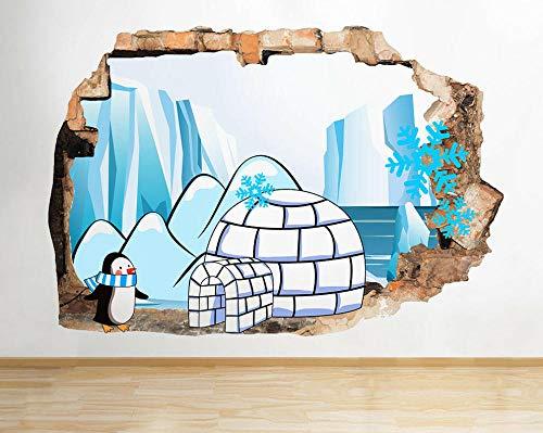 Wandtattoo Poster Tapeten Pinguine Iglu Eis Schnee Kinder zerschlagen Wandtattoo 3D Kunst Aufkleber Vinyl Zimmer-50x70cm