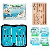 Kit de sutura para la práctica de sutura quirúrgica | Kit de entrenamiento de medicina para estudiantes, enfermeras, primeros auxilios | La almohadilla de silicona simula cuero mejorado, 5 mallas