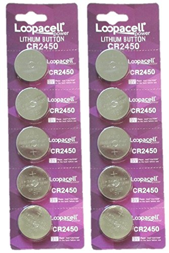 Loopacell CR2450 3V Lithium Battery 10 Pack