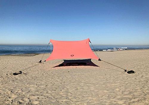 Neso Zelte Gigante Beach Zelt, 2,5 m hoch, 3,3 m (11 ft) x 3,3 m (11 ft), Verstärkte Ecken und Kühlfach(Koralle)