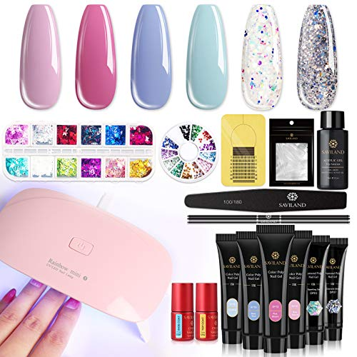 Saviland Poly for Nail Gel Kit - Glitter Poly Nails Gel with Nail Dryer Nail Extension Gel Kit Nail Enhancement Builder Gel Kit for Nail Manicure Beginner Starter Kit All-in-One