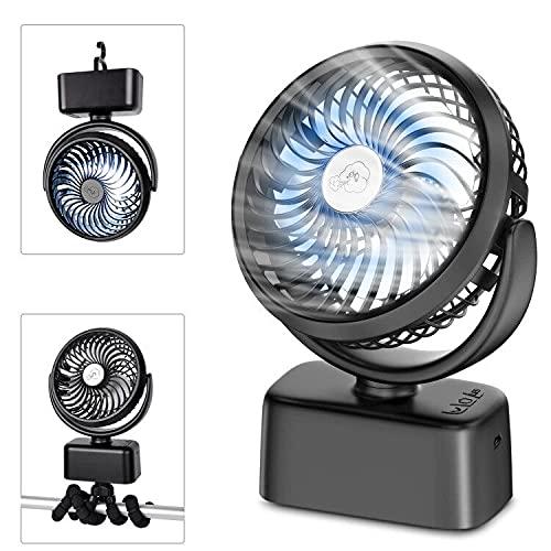Ventilador Portátil – 5000mAh USB Ventilador de Mesa 6-28 Horas, Oscilante Ventilador Pequeño con Luz