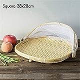 Lvlo Cesta Tejida, Tienda Grande Redondo Que Sirve a la Cesta, la Cesta de bambú de la porción, Cocina Pan Verduras Frutas Cesta de Almacenamiento (Color : Square 28cm)