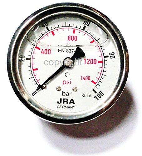 "JRA-Longlife Glyzerin Manometer 0-100 bar/psi NG63 Anschluss hinten 1/4"""