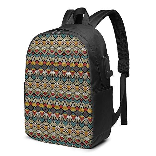 WEQDUJG Mochila Portatil 17 Pulgadas Mochila Hombre Mujer con Puerto USB, Línea de triángulos semicírculos Mochila para El Laptop para Ordenador del Trabajo Viaje