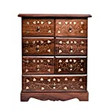 WILLART Almirah - Mueble pequeño con siete cajones de madera con incrustaciones de latón y minicabinete de almacenamiento de madera con siete cajones de madera