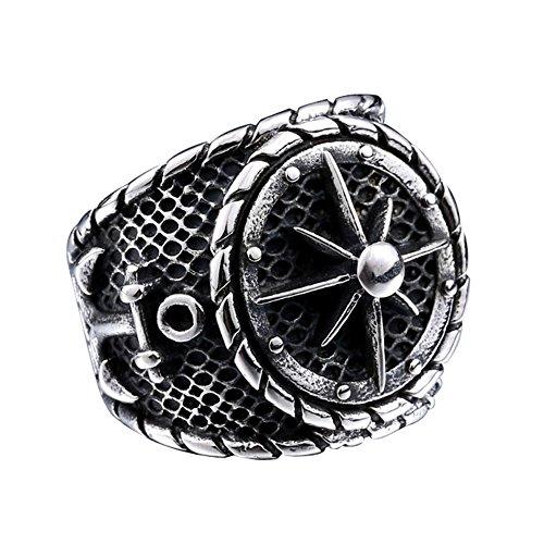 Zovivi Black Vintage Pirate Anchor Punk Rock Stainless Steel Signet Ring