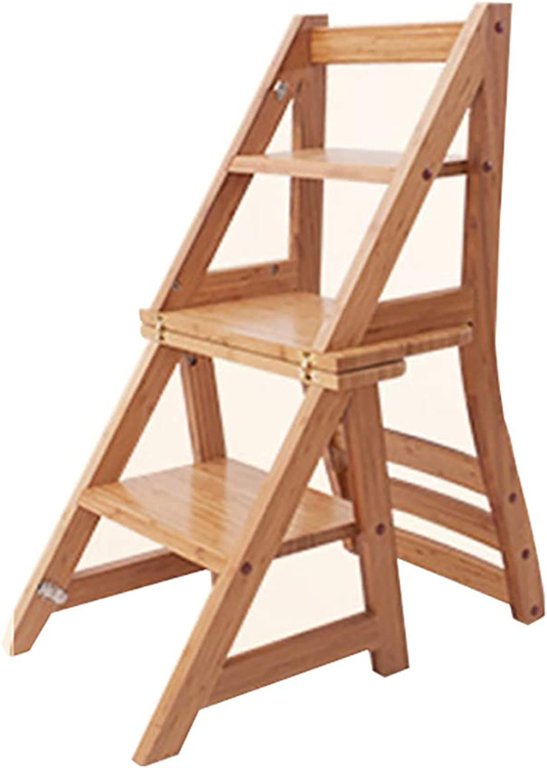 Step stool Three-step Anti-slip Stair Stool, Home Multi-function Dual-use Ladder Chair, Solid Wood Folding Stool, Bamboo Adult Step Stool,90×62×38cm
