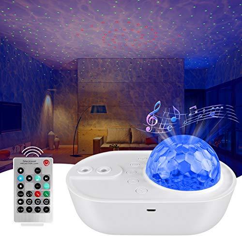 ANVAVA Lámpara Proyector Estrellas LED Luz Nocturna Infantil con Control Remoto y Bluetooth Altavoz de Música 10 Modos Proyector Estrella para Niños Cumpleaños Dormitorio Ambiente …