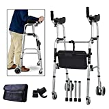 Stand Upright Walkers for Seniors with Seat, Elderly Rollator Walker with Seat and Wheels, Adjustable Walking Aids with Armrest for Disabled Limited Mobility, Foldable 4 Wheels Walkers + Seat + Bag