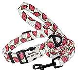 Arneses de Seguridad Lindo Collar de Perro Personalizado Correa Personalizada Collar de Perro de Nailon con Estampado de Frutas Identificación de Nombre Grabado con Plomo para Perro pequeño Mediano