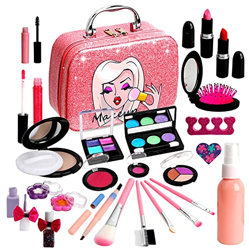 Flybay Kids Makeup Kit for Girl,Children Makeup, Play Makeup Toys for Girls, Washable RealMakeup Set for Little Girls, Princess Girls Toys Gifts for 4 5 6 7 8 9 Year Old Girls