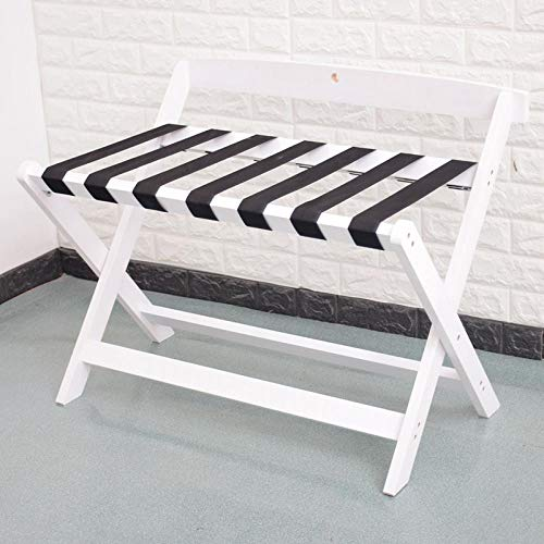 Suitcase Stand Solid Wood Luggage Stool Foldable Bedroom Bedside Clothes Storage Rack Hotel Rack Furniture-80 * 50 * 65Cm White