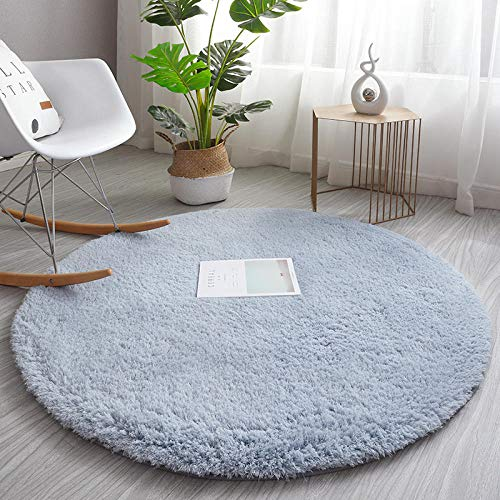 Modern Tie-Dye Area Rug Floor Bedroom,Shaggy Plush Carpets for Living Room Home Decor,Round bedside blanket, hanging basket rocking chair carpet-grey blue_160cm