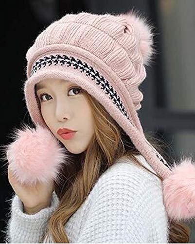 ZXCVBW Wintermütze Handschuhe Schals Set Dicke Plüsch warme Mütze weibliche Strickmütze im Freien Winddicht Ohrenklappen Beanie Hut, rosa Hut, freie Größe