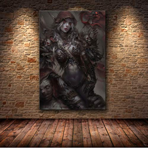 World of Warcraft Karte Poster Leinwand Malerei Wandkunst Wandaufkleber Wow Spiel Poster Weltkarte Wallpaper Wohnzimmer Dekor 50 × 70Cm No Frame