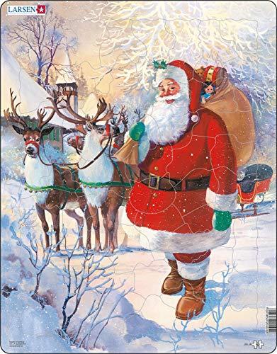 Larsen JUL8 Babbo Natale Pronto a Cavalcare la Sua Slitta, Puzzle Incorniciato con 50 Pezzi