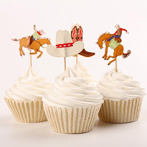 Fumee 24Cupcake Topper Jungen favoriat Fruit Picks Kuchen dekorieren Werkzeug für Party Supplies Western Cowboy