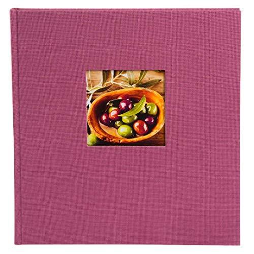 goldbuch 27508 Fotoalbum mit Fensterausschnitt, Bella Vista Trend, Erinnerungsalbum 30 x 31 cm, Foto Album 60 weiße Seiten mit Pergamin-Trennblättern, Fotobuch aus Leinen, Fuchsia