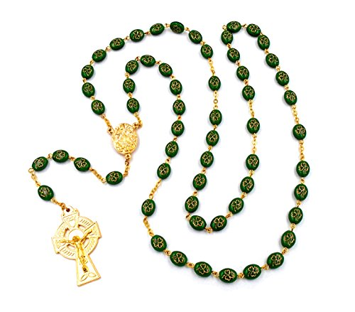 Irish Celtic Rosary with Shamrock Beads and Drop of'Knock, Ireland' Water