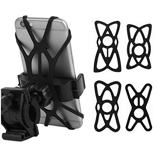 4 PCS Motorcycle X Web Grip Silicone Cell Phone Holder Band Security Rubber Band Mount Tether Elastic Silicone Strap for Smart Phone Cradle Bracket on Bicycle Motorcycle