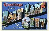 American Vinyl Greetings from Salt Lake City Sticker (Vintage Utah Post Card Design)