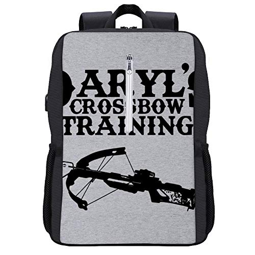 Daryls Crossbow Training Walking Dead Rucksack Daypack Bookbag Laptop Schultasche mit USB-Ladeanschluss
