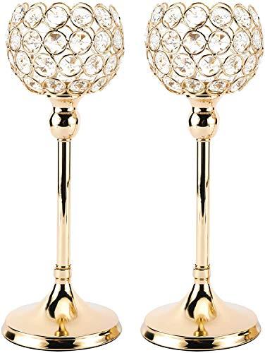 Homtone Juego de 2 portavelas de cristal vintage con portavelas para bodas, Navidad, comedor, mesa de café, centro de mesa decorativa (30 cm, dorado)