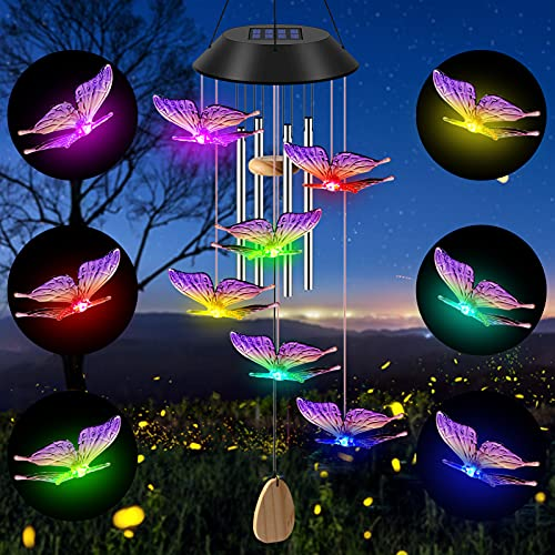 Petrichor Solar Butterfly Wind Chimes, Color Changing Solar Lights, Outdoor Waterproof LED Mobile Memorial Wind Chime with 4 Aluminum Wind Bell,Solar String Lights for Party Night Garden Decoration.