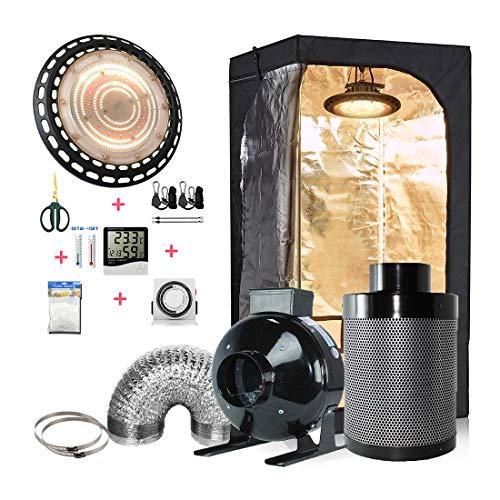 cdmall 32''x32''x63'' Small Grow Tent Kit+100W UFO LED Light+4'' Fan Filter Kit+Hangers+Hygrometer+Shears+24 Hour Timer+Trellis Netting Indoor Grow Tent Complete Kit