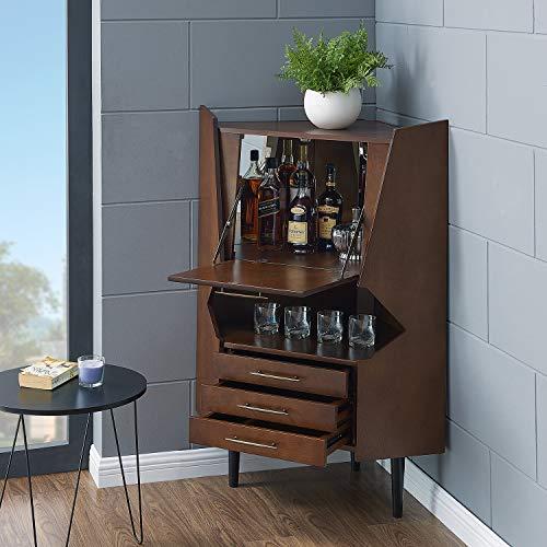 Southern Enterprises Larson Corner Storage Bar Cabinet, brown