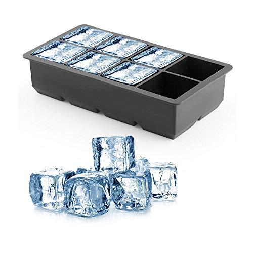 Molde de silicona de 8 cavidades para hacer cubos de hielo grande de 5 cms. Bandejas de silicona para hielo gran tamaño cubo grande...