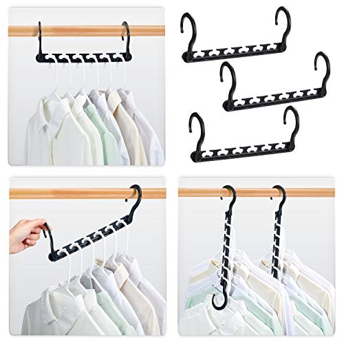 HOUSE DAY Sturdy Plastic Space Saving Hangers Cascading Hanger Organizer Pack of 12 Closet Space Saver Multifunctional Hangers for Heavy Clothes Black