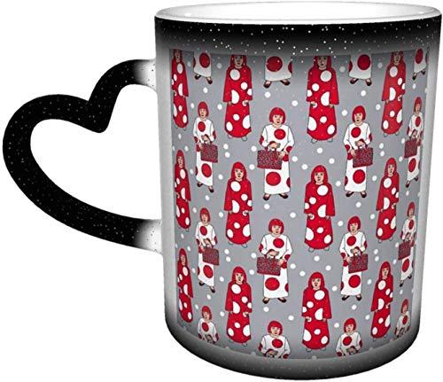 Tazas de café Yayoi Kusama - Taza de cerámica con puntos rojos y blancos para mujer y hombre, color gris, sensible al calor, para amantes de la familia, amigos