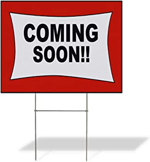 Plastic Weatherproof Yard Sign Coming Soon Red White Style2 Blue for Sale Sign One Side 18inx12in