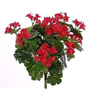 artplants.de Geranio de plástico BERENIKE con Vara de fijación, Zona protegida, Rojo, 40cm, Ø5-8cm – Geranio Artificial…