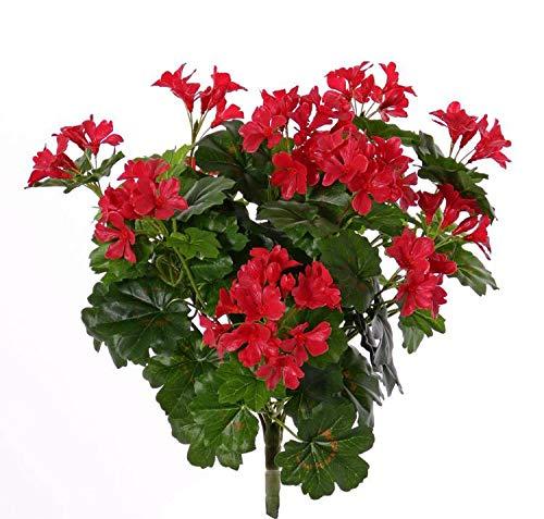 artplants.de Set de 6 x Geranio Artificial BERENIKE, Rojo, 40cm, Ø 5-8cm-Pack geranios sintéticos - Paquete Plantas Artificiales