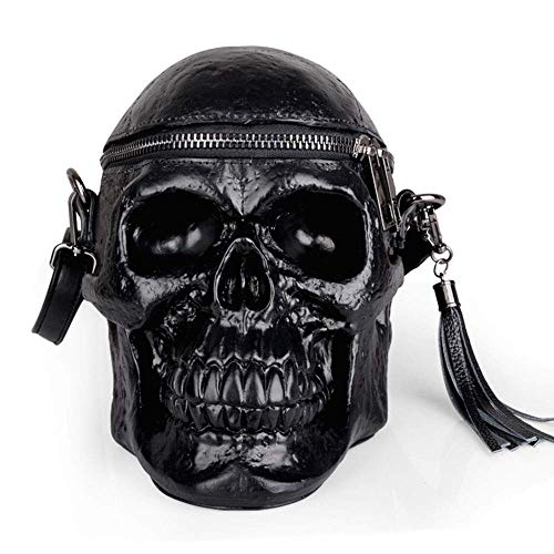MARKS Outdoor Backpack Creative Women's Backpack Personality Funny Silicone 3D Simulation Skull Black Men's Shoulder Bag Messenger Bag Tassel Decoration Fashion Collocation