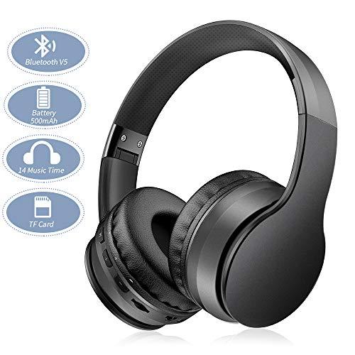 Ifecco Bluetooth Estéreo Auriculares Música Sobre-oído Sonido de alta fidelidad, Bluetooth Banda para la cabeza plegable con micrófono y cable de audio para Apple iPhone, PC(Metal negro)