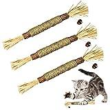 ELOPAW 3 Pack Silvervine Sticks Cat Toys for Indoor Cats Interactive Silvervine for Cats Catnip Toys for Indoor Cats Chew Toy for Cat Teeth Cleaning Kitten Teething