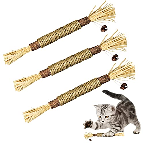 ELOPAW 3 Pack Silvervine Sticks Cat Toys for Indoor Cats...