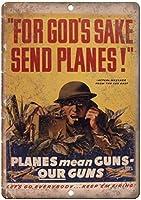 飛行機や銃を送るビンテージWW2戦争ポスターレトロな外観のメタル