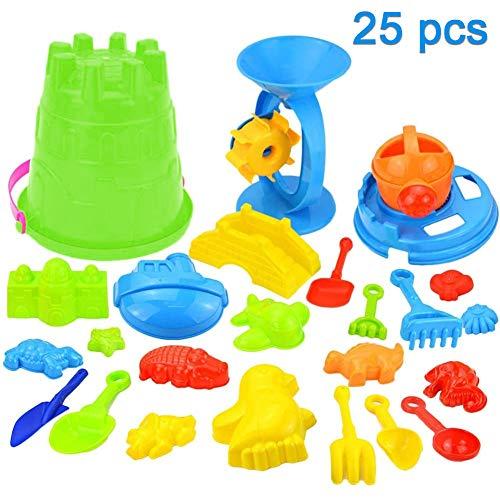 swonuk Juguetes de Cubo para Niños Juguetes para la Arena y Playa (25 Pedazos) Colores aleatorios