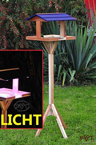 vogelfutterhaus,XXL,mit Licht,DACH BLAU,MIT Beleuchtung,LED-Licht / Vogelhaus,wetterfest IN DUNKELBRAUN,VIERDABLA-BEL-dbraun001 NEU PREMIUM Vogelhaus !!! KOMPLETT mit Ständer !!! wetterfest lasiert, Vogelfutterhaus MIT-Futterstation Farbe braun dunkelbraun schokobraun rustikal klassisch,Ausführung Naturholz MIT WETTERSCHUTZ-DACH für trockenes Futter - 2