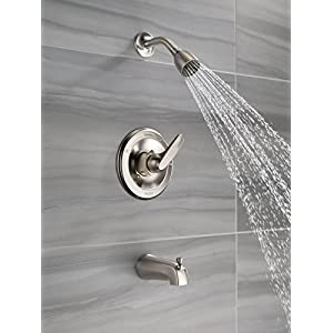 Delta BT13410-SS Foundations Single-Function Tub and Shower Trim Kit with Single-Spray Shower Head, Stainless (Valve Not Included)
