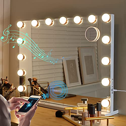 Large Bluetooth Vanity Mirror, Makeup Mirror with Lights Hollywood Mirror...